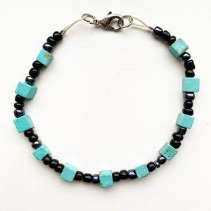 Vintage turquoise & black hematite bead bracelet